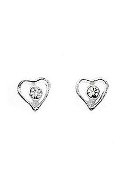 Girl's Sterling Silver Tiny Open Heart Crystal Stud Earrings