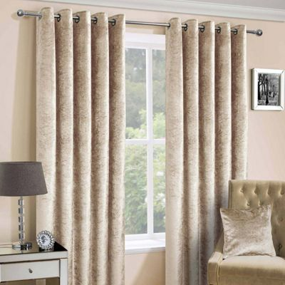 Champagne Luxury Crushed Velvet Lined Eyelet Curtain Pair, 90 x 54
