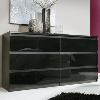 Ideal Furniture Chelsea Wide Chest Of  Drawers Black Gloss