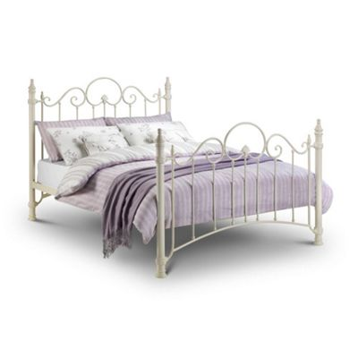 Happy Beds Florence Metal High Foot End Bed - Stone White - 3ft Single