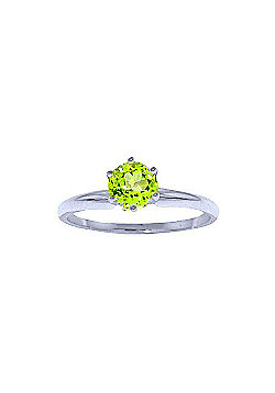 QP Jewellers 0.65ct Peridot Crown Solitaire Ring in 14K White Gold