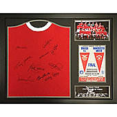 Framed Manchester United 1968 Home shirt signed by 10 team mates