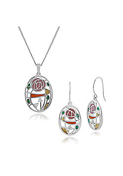 Gemondo Sterling Silver Topaz Rennie Mackintosh Style Art Nouveau Drop Earring & 45cm Necklace Set