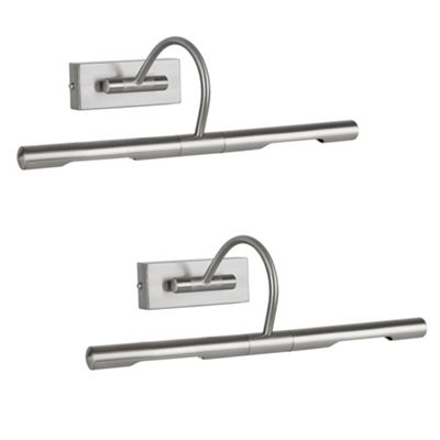Pair of Adjustable Twin Picture Wall Lights, Brushed Chrome