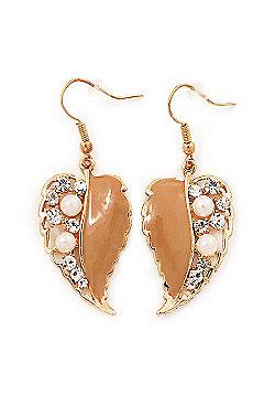 Gold Plated Beige Enamel Crystal & Simulated Pearl 'Leaf' Drop Earrings - 5cm Length