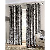 Rapport Crushed Velvet Eyelet Curtains - Silver