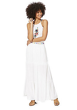F&F Pom Pom Trim Embroidered Maxi Dress - White