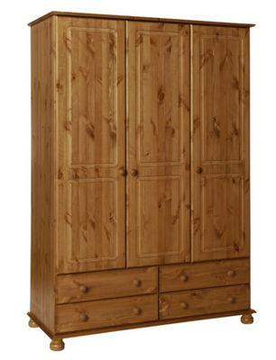 Copenhagen Pine 3 Door 4 Drawer Wardrobe