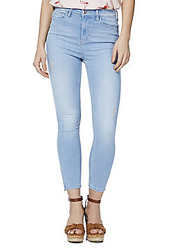 F&F Contour Zip Detail Distressed High Rise Super Skinny Jeans with LYCRA® BEAUTY - Light wash