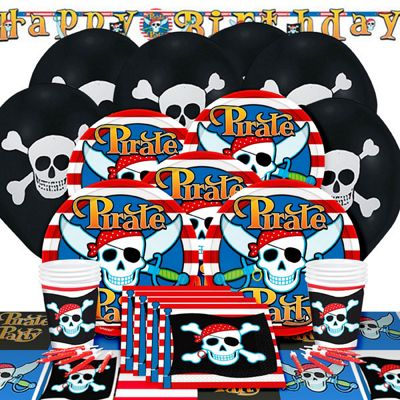 Pirate Skull Deluxe Party Pack for 8