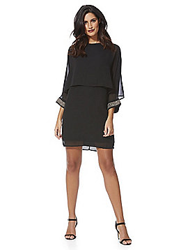Mela London Beaded Cuff Layered Dress - Black