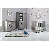Obaby Stamford Mini Cot Bed 4 Piece Pocket Sprung Mattress Nursery Room Set - Taupe Grey