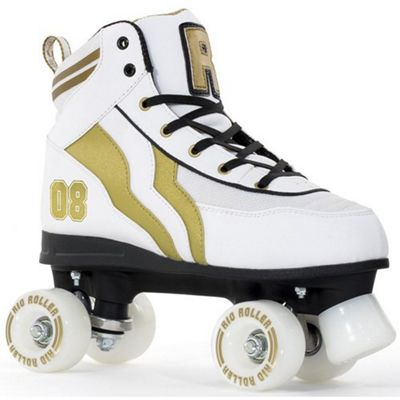 Rio Roller Varsity Quad Skates - White/Gold - Size - UK 2