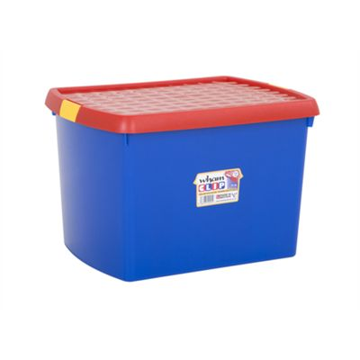 Wham 8.02 Clip 21.5L (A4) Box & Lid Blue/Red (Yellow clips) - Pack of 4