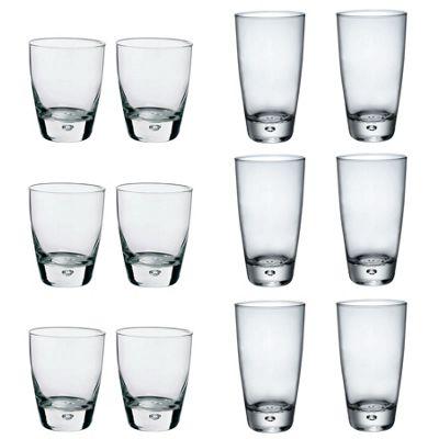 Bormioli Rocco Luna Clear Bubble Base Highball Cocktail Glasses & Whiskey Rocks Tumblers - Set of 12