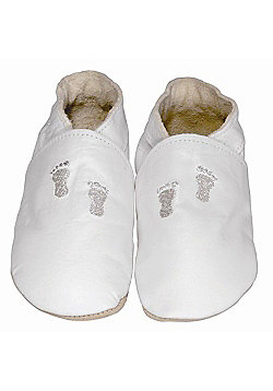 Daisy Roots Soft Leather Baby Shoe - Embroidered Footprints on White - White