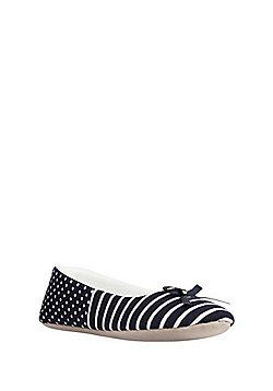 F&F Striped Ballerina Slippers - Navy