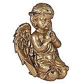 Antique Gold Polyresin Praying Cherub Decoration