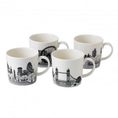 Royal Doulton Charlene Mullen London Calling Set of 4 Mugs