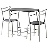 Tesco breakfast table set with 2 chairs, black