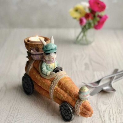 Bunny in Carrot Car Easter Tea Light Holder