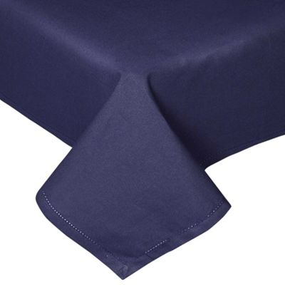 Homescapes Plain Cotton Navy Blue Tablecloth, 54 x 54 Inches