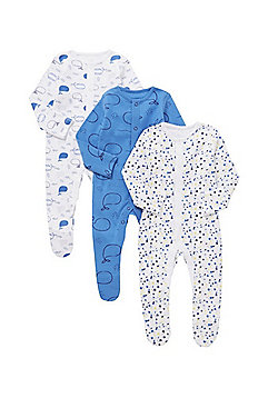 F&F 3 Pack of Whale and Splatter Print Sleepsuits - Blue