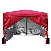 3x3m Pop-up Gazebo 2 Wind bars waterproof coating layer Marquee Canopy With sides (Red)