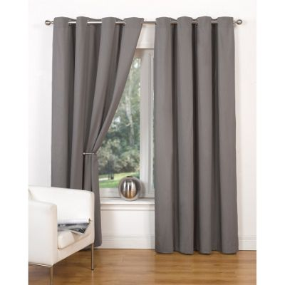 Hamilton McBride Canvas Unlined Ring Top Grey Curtains - 45x54 Inches (117x137cm)