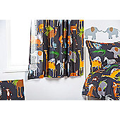 Ready Steady Bed Kids Africa Theme Pencil Pleat Curtains 66x72 with Tiebacks