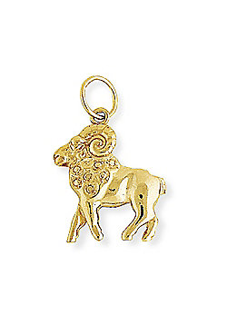 9ct Gold Aries Ram Horoscope Star Sign Charm Astrology Pendant 18 x 27mm
