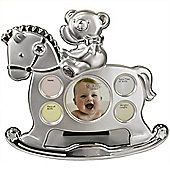 Memories - My First Year Baby Rocking Horse Photo Frame - Silver