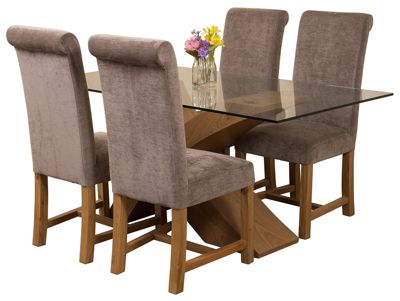 Valencia Small Oak 160cm Modern Glass Dining Set Table & 4 Grey Fabric Chairs