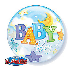 Baby Boy Moon and Stars Bubble Balloons - 22 inch