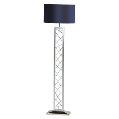 Litecraft Fletcher floor lamp with Blue Shade - Chrome