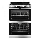 AEG 41102V Double Oven Electric cooker Fan Assisted Ceramic Hob Stainless Steel