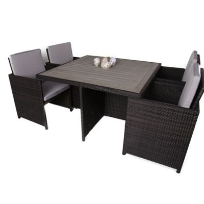 4 seater rattan cube garden table and chair set with plaswood top cushions