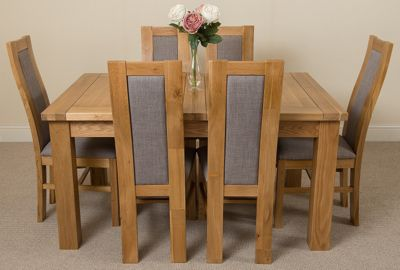 Seattle Extending Kitchen Solid Oak Dining Table & 6 Solid Oak Fabric Chairs