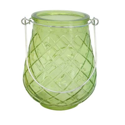 Green Glass Hanging Tea Light Holder