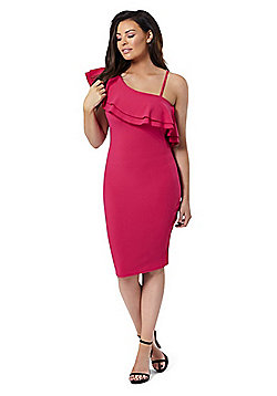 Jessica Wright Reilly Ruffled One Shoulder Dress - Pink