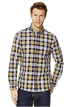F&F Checked Button-Down Collar Shirt - Mustard