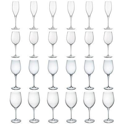 24x Bormioli Rocco Premium Glass Champagne Flutes & S / M / L Wine Glasses