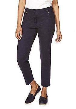 F&F Zip Detail Ankle Grazer Mid Rise Slim Leg Trousers - Navy