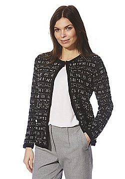 F&F Faux Pearl Trim Knitted Jacket - Black