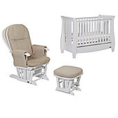 Tutti Bambini Katie Mini Cotbed + Glider Chair + Drawer - White.