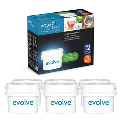 Aqua Optima Evolve 60 day water filters cartridges – 6 pack – Compatible with BRITA* MAXTRA*