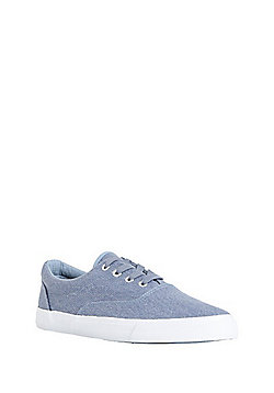 F&F Striped Canvas Lace-Up Oxford Plimsolls - Light Blue
