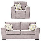 Boston Armchair + 3 Seater Sofa Set, Pink
