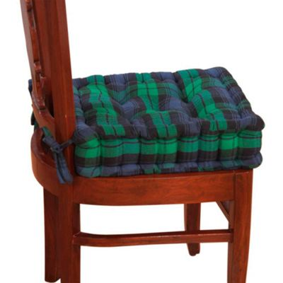 Homescapes Dining Booster Cushion Black Watch Tartan Design Cotton