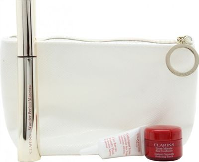 Clarins All About Eyes Gift Set 7ml Wonder Perfect Mascara Black + 4ml Instant Smooth Perfecting Touch + 3ml Eye Revive Beauty Flash + Pouch
